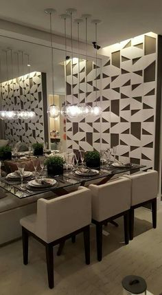 Dining room with mirror on the side wall - Decorate Your Life, Decorate Your Style Decor, Dining Room Small, Dining Room Design, Dinning Room, Home Decor, House Interior, Home Deco, Dining Design, Mirror Dining Room