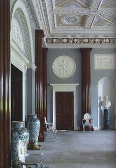 The enterance hall at Harewood House designed by Robert Adam.