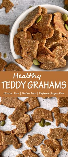 These homemade Teddy Grahams are super cute, tasty little animal crackers that are perfect for a healthy snack. Kid friendly, egg free, dairy free and gluten free, these grain free graham crackers are quite the treat! #grahamcrackers #teddygrahams #paleocookies #eggfreerecipes #grainfree Eggless Recipes, Paleo Recipes, Free Recipes, Grain Free, Dairy Free, Graham Recipe, Real Food Recipes, Snack Recipes, Gluten Free Brands
