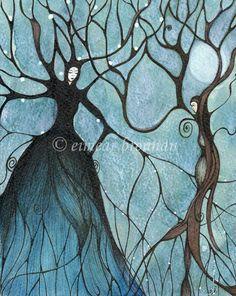 Full Moon At Samhain. Original Pen & Ink Drawing by Eimear Brennan (forest paintings, tree paintings, devas). €285,00, via Etsy ~ so simple, so beautiful