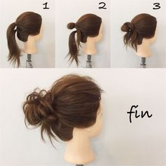 Easy Messy Bun! 1, I make two ponytails with the ears above! 2, ties the upper one in a loop! 3, Winding the lower side up ,,, It collapses as a whole and it is completed! ! ! If you think that there are a lot of hair going out, let's wrap that part and pin it (^ ^)