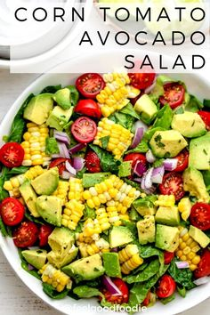 This Corn Tomato Avocado Salad Is A Quintessential And Easy Vegan Summer Recipe Made With Fresh Vegetables And Tossed With Lime Juice, Olive Oil and Cilantro Summer Recipes Vegan Vegetarian Salad Ideas Lunch Food Potluck Grilling Avocado Salad Recipes, Best Salad Recipes, Cilantro Recipes, Recipes For Salads, Tomato Corn Avocado Salad, Simple Salad Recipes, Salad Recipes Healthy Lunch, Vegetable Salad Recipes, Dessert Recipes