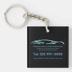 Luxury Car logo - Ice Blue Sports Car on black Keychain