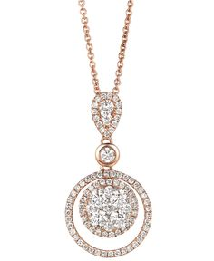 Le Vian Diamond Necklace, 14k Rose Gold Diamond Double Circle Pendant (7/8 ct. t.w.) - Necklaces - Jewelry & Watches - Macy's