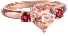 Rose-Gold Flashed Silver Morganite and Pink Tourmaline Heart Ring, Size 7