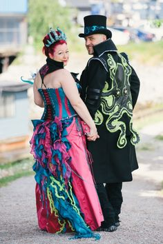 Electric, pink, octopus-themed, Burner wedding fashions to blow your tentacles away