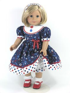 18 inch Handmade American Girl Doll Dress - Red, White, Blue Dots - Exclusively Linda Doll Clothes