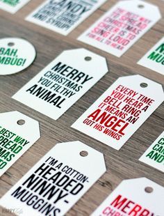 Fun free holiday movie quote printable gift tags from The Happy Tulip - nice to find some with a sense of  humor!