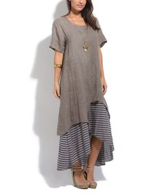 Take a look at this Beige & Taupe Stripe-Accent Tama Dress today!