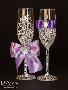 luxury White  purple Wedding glasses from the by DiAmoreDS, $47.00
