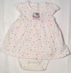Infant Girls H&M Hello Kitty 4-6 Month Mo Baby Dress White Bubble Polkadots