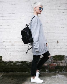 Sneaker style: Oversized crew neck with ripped jeans and our all-white Royale sneakers. Via Sarahb.h.  #sneakerstyle #greatsbrand #greats
