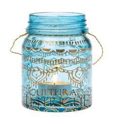 Small Turquoise Mehndi Mason Jar