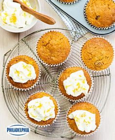 Carrot Cupcakes with Cream Cheese Icing Recipe No Bake Desserts, Dessert Recipes, Kraft Recipes, Cupcake Cream, Cupcake Cakes, Cupcakes, Baked Carrots, Cream Cheese Icing, Instant Pudding