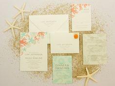 Beach Wedding Invitations Destination Wedding by BanterandCharm