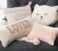 Emily & Meritt Decorative Pillows; Sleepy Kitty & Sweet Traveler