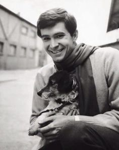 0 anthony perkins holding a puppy Not Dark Yet, Norman Bates, Anthony Perkins, Actors, Fictional Characters, Vintage Films, Classic Hollywood, Angel, Celebs