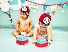 Kara's Party Ideas Thing 1 and Thing 2 Twin Birthday Party {Ideas, Supplies, Decor} Dr Seuss Party Ideas, Boys 1st Birthday Party Ideas, Twin Birthday Parties, Second Birthday Ideas, Boy First Birthday, Birthday Cake, Cat In The Hat Party, Twin Photos, Twins 1st Birthdays