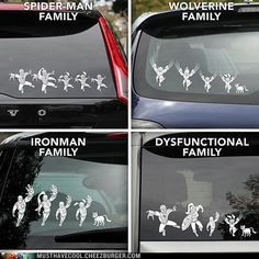 Marvel Superhero Family Car Decals...LOVE...We'd be Captain America, Wonder Woman, Thor (just for this week), and Iron Man (again, for this week).