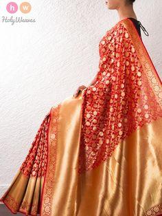 Red Art Silk Brocade Saree
