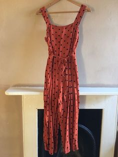 d6e501f30e Miss Selfridge Orange Autumn Fall Polka Dot Dungaree Jumpsuit Size 8   fashion  clothing