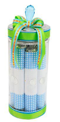 Frasco de vidrio con chocolates, azul con verde. Ideal para recuerdos de Baby Shower
