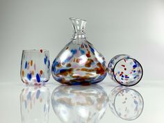 Decanter with Stemless Glasses by David Levi Unity Ceremony, Custom Glass, Love Symbols, Beautiful Artwork, Decanter, Colored Glass, Hibiscus, Poppies, Glass Art