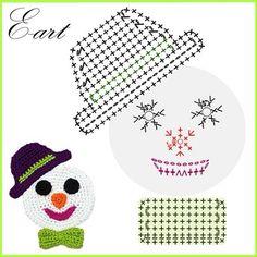 Photo From Eartuae - Diy Crafts Christmas Applique, Crochet Christmas Ornaments, Christmas Crochet Patterns, Holiday Crochet, Crochet Doily Patterns, Crochet Diagram, Crochet Home, Crochet Patterns Amigurumi, Crochet Motif