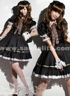 2014 Hot Sale Sweet Princess Black Short Sleeves Lace And Bow Maid Barbie Lolita Dress Costumes For Women