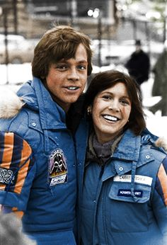 Carrie Fisher and Mark Hamill on the location of the Empire Strikes Back 1979 Norway. Second attempt of color.