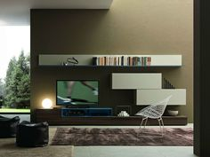 sectional wall mounted tv wall system i modulart 273 by presotto design pierangelo sciuto