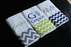 Monogrammed Burp Cloths Baby Boy Gift Set...love these