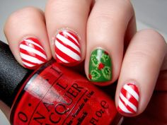 Spellbound Nails | Candy Canes and Holly Berries