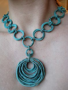 Necklace | Jamie Spinello. Copper with a turquoise patina.*