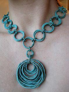 Patina Jewelry - Chunky Patina Necklace - handmade- turquoise oxidized patina.