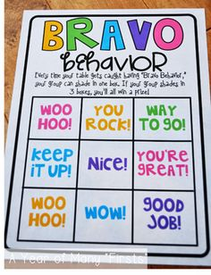 * We use PBIS, so this could also be done with tickets towards our monthly reward. Bravo Behavior- when the entire table has bravo behavior, the teacher will choose a student to shade in 1 square. 3 shaded squares equals a prize Behavior Incentives, Classroom Behavior Management, Behaviour Management, Classroom Organisation, Kindergarten Classroom, School Classroom, Behavior Plans, Behavior Bingo, Behavior Board