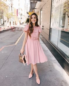 Gal Meets Glam Daily Look featuring Julia Engel wearing a pink Gal Meets Glam Collection dress and Nicholas Kirkwood flats, carrying a Mark Cross bag. Modest Dresses, Modest Outfits, Modest Fashion, Cute Dresses, Dress Outfits, Casual Dresses, Dress Up, Cute Outfits, Bridesmaid Dresses