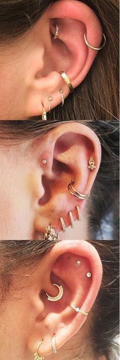 Cute Multiple Ear Piercing Gold Jewelry Combinations Ideas at Cartilage Ring Helix Hoop Rook Earring Tragus Stud Daith Jewelry Piercing Implant, Piercing Tragus, Cute Ear Piercings, Multiple Ear Piercings, Body Piercings, Piercing Tattoo, Tragus Stud, Helix Piercing Jewelry, Ear Jewelry