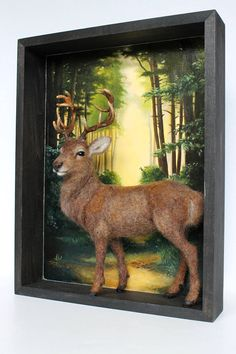 Needle Felted Stag Sculpture Shadowbox DioramaForest