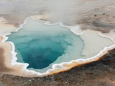 This yellowstone hot spring is about 150ft deep