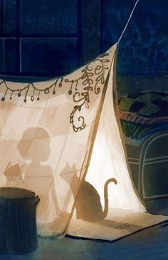 Illustration by Erin McGuire - cat art Art And Illustration, Book Illustrations, Cat Art, Illustrators, Book Art, Concept Art, Fantasy Art, Artsy, Art Prints