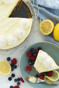 A smooth, extra creamy No Bake Lemon Cheesecake made with lemon juice and lemon zest and no artificial flavors! It's firm enough to stand up to being cut and is even great frozen! Includes step by step recipe video | no bake cheesecake | no bake dessert | lemon dessert | easy recipe