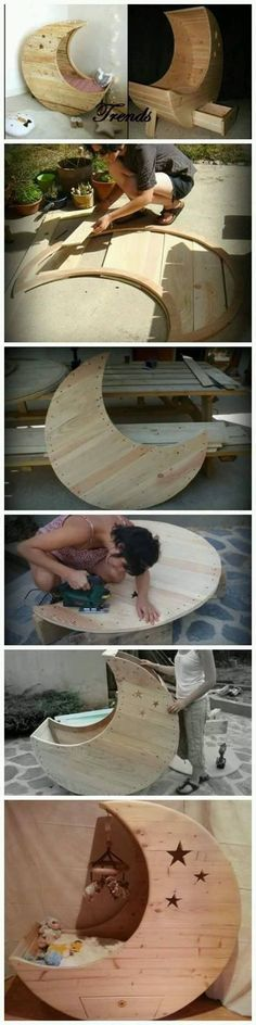 Plans of Woodworking Diy Projects - Plans of Woodworking Diy Projects - DIY Moon Shaped Cradle Get A Lifetime Of Project Ideas & Inspiration! Get A Lifetime Of Project Ideas & Inspiration! Woodworking For Kids, Woodworking Projects Diy, Woodworking Wood, Wood Projects, Woodworking Inspiration, Woodworking Skills, Woodworking Patterns, Woodworking Machinery, Woodworking Videos
