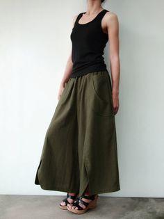 2f9422e8d06 NO.41 Dark Olive Cotton Wide Leg Pants
