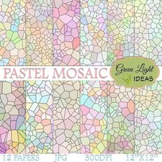 Pastel Mosaic Digital Papers, Stained Glass Digital Papers, Abstract Printable Papers, Mosaic Backgrounds Digital, Mosaic Scrapbook Papers  -------------------------------------------------- Use Coupon Codes! Save Money!  Spend $5 or more and save 20% ---> 20GREEN Spend $10 or more and save 50% ---> 50GREEN --------------------------------------------------  Pastel stained glass designs for scrapbooking projects.  →DETAILS:  - 12 digital papers - High quality (300 DPI) - 12 x 12 (3600 p...