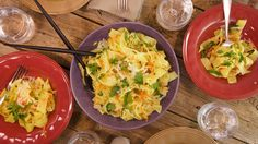 Chicken and Vegetable Tagliatelle Recipe - Rachel Ray DANIELLE's NOTES: Turned out okay, I like all the veggies in it for my kids, but it was lacking some seasoning.