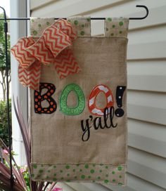 Halloween Boo y'all  Appliqued Fall Garden Flag, Garden flag, outdoor decoration, fall garden flag, burlap fall yard flag by cindidavis1 on Etsy