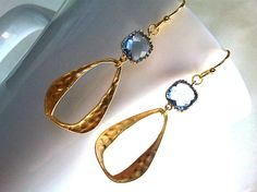 Light Sapphaire blue with Gold Tear Drop earrings