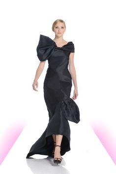 Bias-cut black gazar gown with asymmetrical neckline.  #fashion #eveningwear #dramatic #black #gown #biascut #gazar #michaeldepaulo
