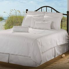 Victor Mill Latitude Snow White Daybed Comforter Set by Victor Mill Bedding. White Twin Comforter, Daybed Comforter Sets, White Daybed, Daybed Sets, White Bedding, Bedding Sets, Comforters, Pinch Pleat Curtains, Pleated Curtains